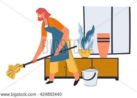 Housewife Mopping Floor With Wet Wipe And Water