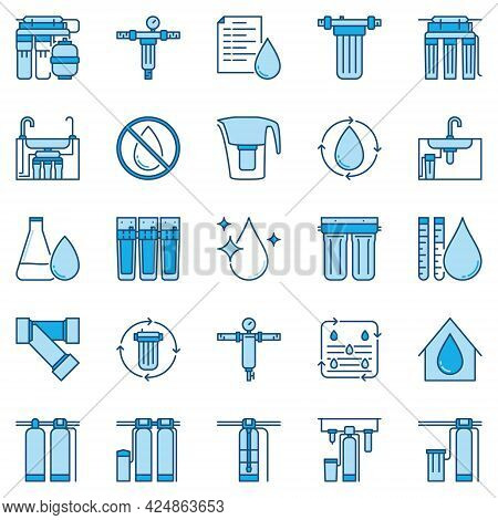 Water Purification And Filters Blue Concept Vector Icons