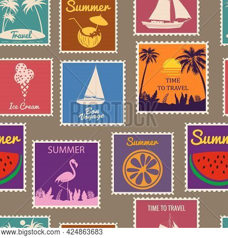 Postage Stamps Seamless Pattern Summer Vacation. Retro Background Signs Travel Exotic Tour. Vector I