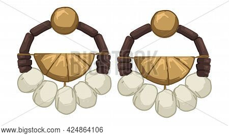 Earrings With Stones And Beads, Threads And Metal