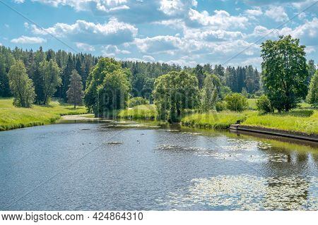 Summer Green Countryside Nature Landscape. Green Nature Landscape. Beautiful Colorful Summer Spring