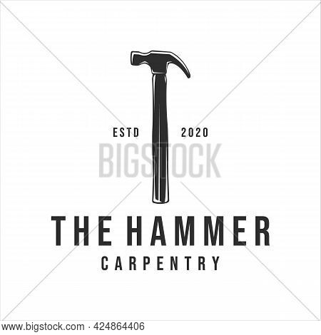 Hammer Logo Vintage Vector Illustration Template Icon Design. Tool And Equipment Carpentry For Profe