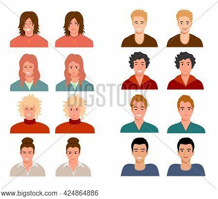 Avatars Of People With Different Facial Expressions. People Are Characters. Women, Men Multiracial A