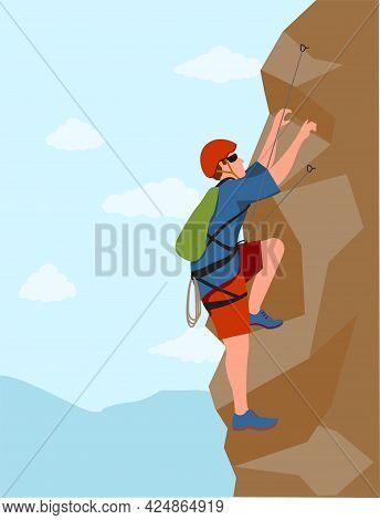 Wall Climbers. Mountain Rock Climber. Man Healthy Active Lifestyle Activities Garish Vector Illustra