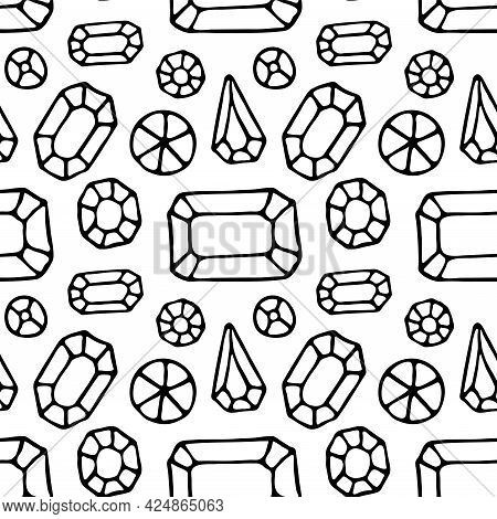 Seamless Pattern With Crystals. Precious Stones. Jewelry Workshop. Vector Hand Drawn Illustration. T