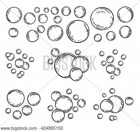 Soap Bubbles Isolated. Bubbles Sketch Line Icons Set. Soap Foam, Fizzy Drink, Oxygen Bubble Pictogra