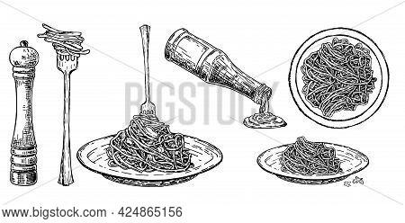 Set Italian Pasta On Fork And Plate. Traditional Italian Pasta. Spaghetti Sauce, And Seasonings. Vec