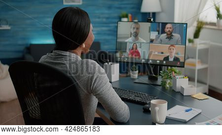 Black Student Discussing Marketing Academic Ideas With College Team Having Virtual Teleconference Me