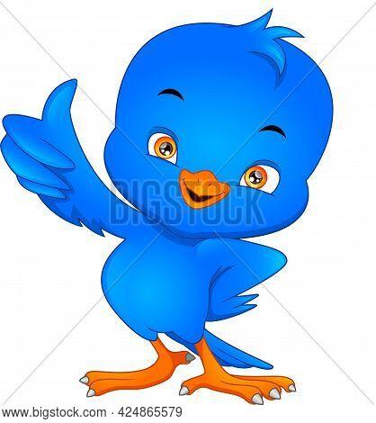 Cute Bird Cartoon Thumbs Up On A White Background