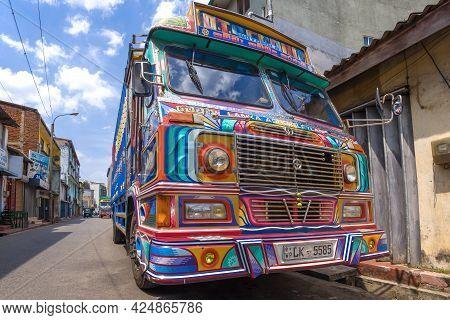Colombo, Sri Lanka - February 23, 2020: Cab Of The Lanka Ashok Leyland Truck Close Up