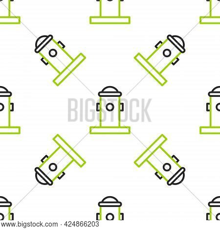 Line Fire Hydrant Icon Isolated Seamless Pattern On White Background. Vector Illustration
