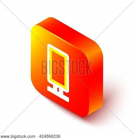 Isometric Line Big Full Length Mirror For Bedroom, Shops, Backstage Icon Isolated On White Backgroun