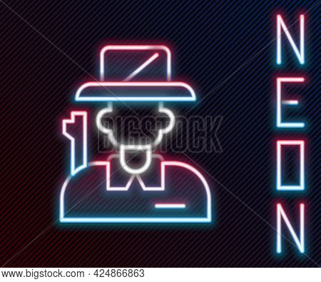 Glowing Neon Line Hunter Icon Isolated On Black Background. Colorful Outline Concept. Vector