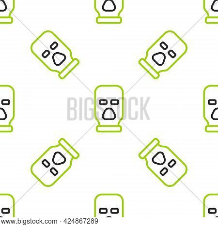 Line Balaclava Icon Isolated Seamless Pattern On White Background. A Piece Of Clothing For Winter Sp