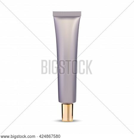 Ointment Tube. Eye Cream Cosmetic Container Mockup. Eye Serum Squeeze Bottle Mock Up With Gold Cap,