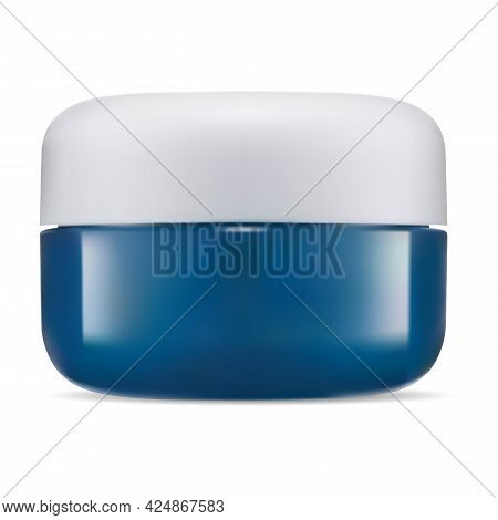 Cream Jar, Cosmetic Case Mockup. Plastic Face Creme Container. Beauty Body Butter Round Glossy Jar S