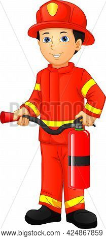 Cute Boy Firefighter Isolated On White Background