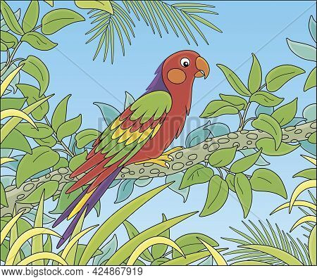Exotic Colorful Parrot With A Long Tail And Brightly Colored Plumage, Perched On A Green Tree Branch