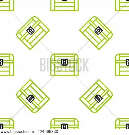 Line Antique Treasure Chest Icon Isolated Seamless Pattern On White Background. Vintage Wooden Chest