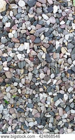 Pebbles Small. Background From Multicolored River Pebbles. Stones Of Different Colors Lie In A Pile.