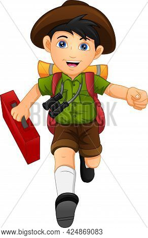 Cute Boy Backpacker Traveler With Back Pack