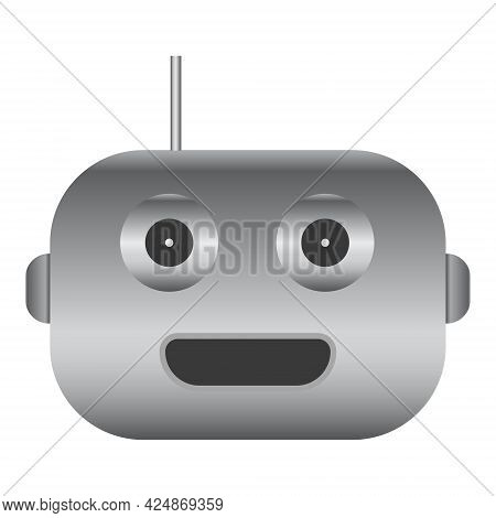 Simple Robot Head With Gray Gradient Isolated On White. Cyborg Icon. Vector Illustration.