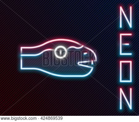 Glowing Neon Line Snake Icon Isolated On Black Background. Colorful Outline Concept. Vector