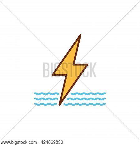 Water Hyrdo Energy Modern Icon - Hydro Power Vector Sign