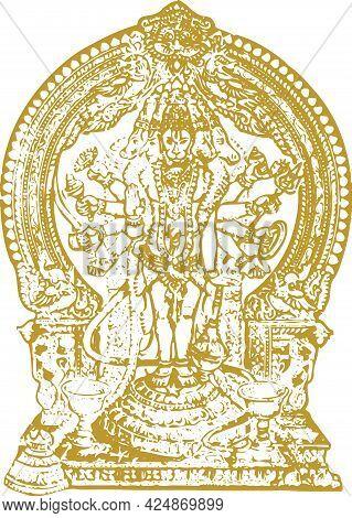 Drawing Of Lord Hanuman Outline Editable Illustration. Strength And Powerful God Bhajarangi Or Lord