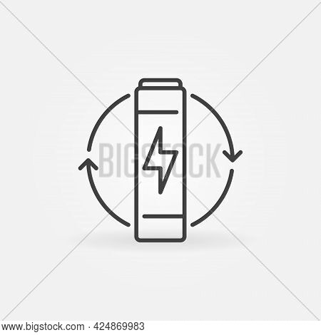 Aaa Battery Vector Thin Line Concept Icon Or Sign