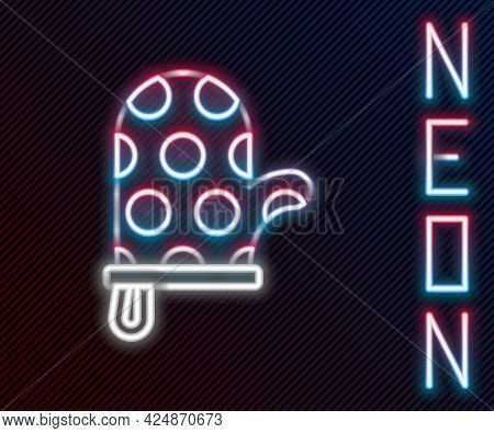 Glowing Neon Line Oven Glove Icon Isolated On Black Background. Kitchen Potholder Sign. Cooking Glov