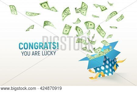 Dollar Paper Currency Explosion Out Box. Win Money Prizes Vector Banner. Gambling Advertising Illust
