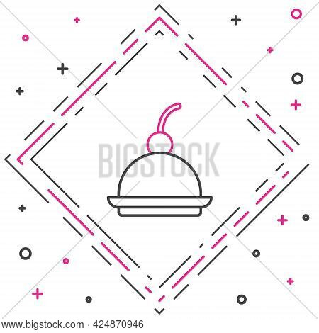 Line Cherry Cheesecake Slice With Fruit Topping Icon Isolated On White Background. Colorful Outline