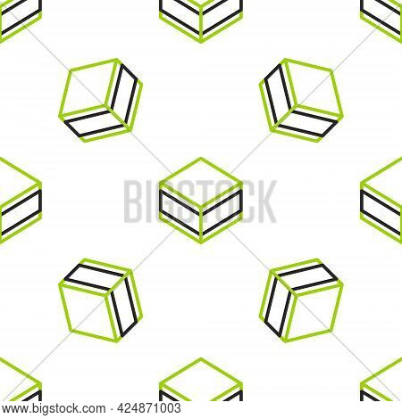 Line Brownie Chocolate Cake Icon Isolated Seamless Pattern On White Background. Vector