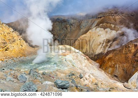 Crater Of Active Volcano, Stunning Volcanic Landscape: Fumarole And Hot Spring, Lava Field, Geotherm