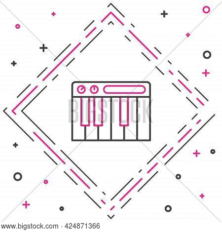 Line Music Synthesizer Icon Isolated On White Background. Electronic Piano. Colorful Outline Concept
