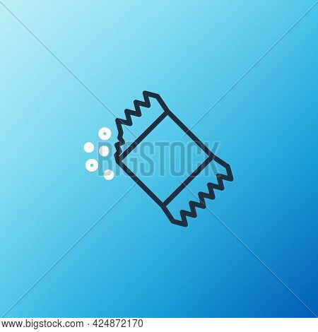 Line Packet Of Pepper Icon Isolated On Blue Background. Colorful Outline Concept. Vector