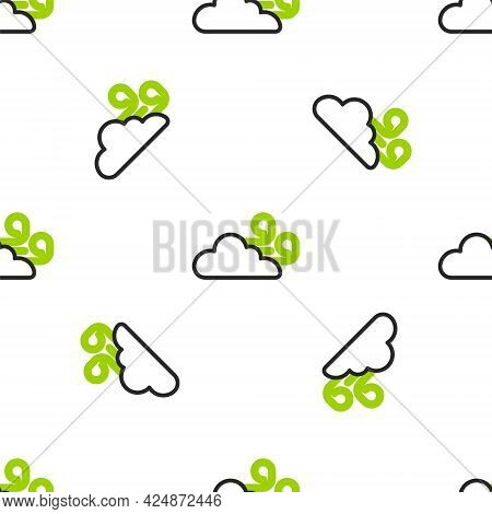 Line Windy Weather Icon Isolated Seamless Pattern On White Background. Cloud And Wind. Vector