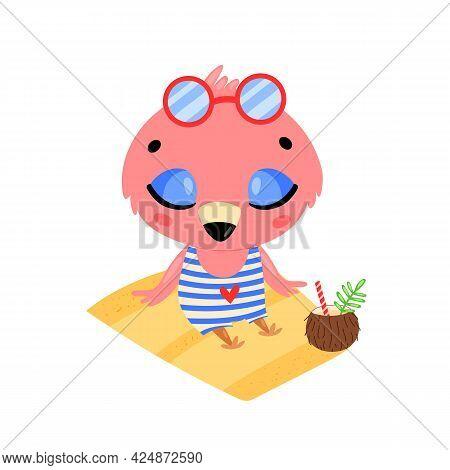 Flat Doodle Cute Cartoon Summer Flamingo Sunbathing On The Beach. Tropical Jungle Animals
