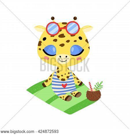 Flat Doodle Cute Cartoon Summer Giraffe Sunbathing On The Beach. Tropical Jungle Animals
