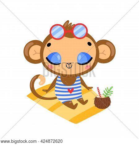 Flat Doodle Cute Cartoon Summer Monkey Sunbathing On The Beach. Tropical Jungle Animals