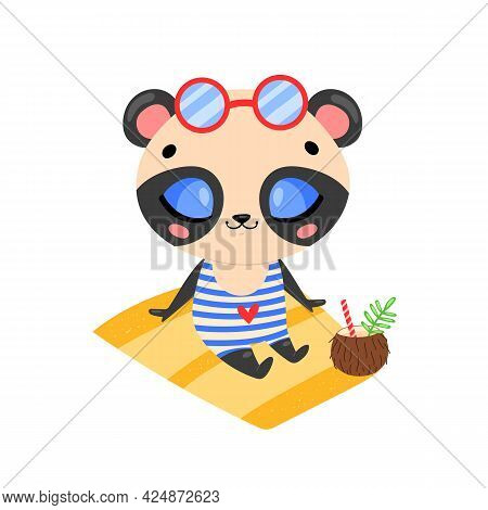 Flat Doodle Cute Cartoon Summer Panda Bear Sunbathing On The Beach. Tropical Jungle Animals