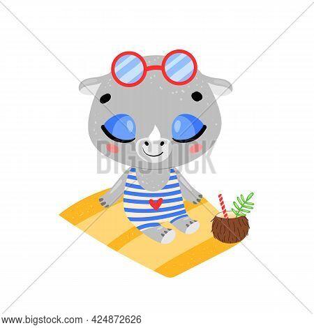 Flat Doodle Cute Cartoon Summer Rhino Sunbathing On The Beach. Tropical Jungle Animals