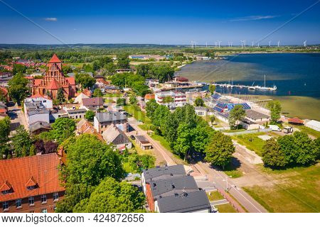 Summer scenery of the city of Puck at the Bay of Puck in summer, Poland.