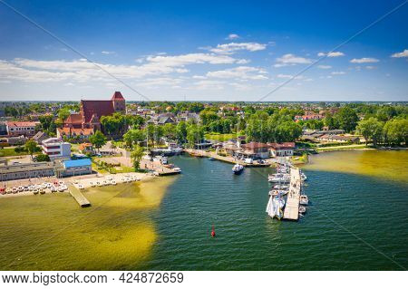 Scenery of the beach in Puck on the Bay of Puck at summer. Poland