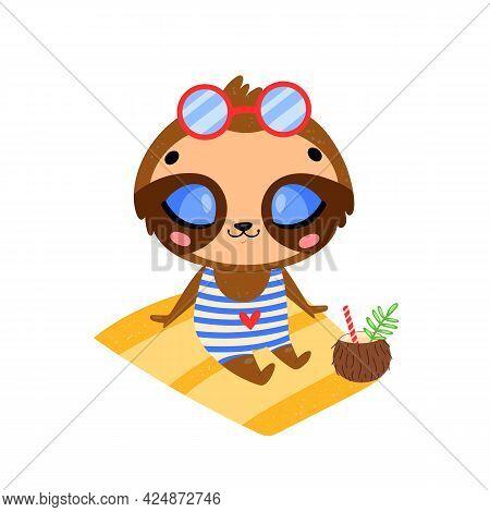 Flat Doodle Cute Cartoon Summer Sloth Sunbathing On The Beach. Tropical Jungle Animals