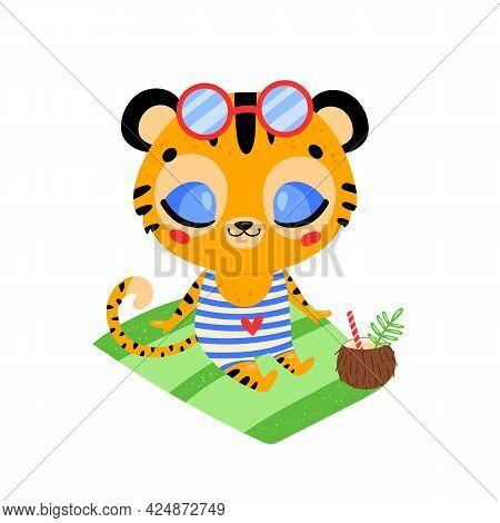 Flat Doodle Cute Cartoon Summer Tiger Sunbathing On The Beach. Tropical Jungle Animals