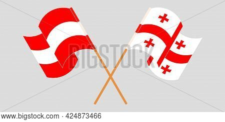 Crossed And Waving Flags Of Georgia And Austria