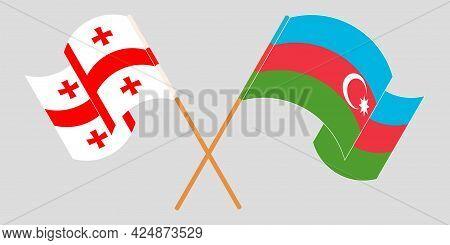 Crossed And Waving Flags Of Georgia And Azerbaijan
