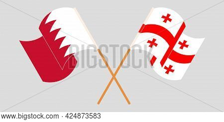 Crossed And Waving Flags Of Georgia And Bahrain